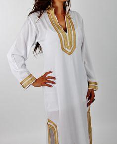 Tory Burch Style marocain Caftan caftan robe blanche - Mariam-parfait comme vêtements de détente, maillots de bain, anniversaire, lune de miel cadeaux, plage couvrez-vous