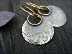 printed moon ... mixed metal earrings. $48.00, via Etsy.