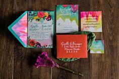 colorful wedding stationery - photo by Kristen Weaver Photography http://ruffledblog.com/yucatan-inspired-wedding-ideas