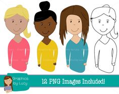 Fun female teachers clip art with commercial use. Perfect for making resources to sell on TPT!    https://www.teacherspayteachers.com/Product/Female-Teachers-Clip-Art-Set-12-PNG-Images-Personal-Commercial-Use-1701820