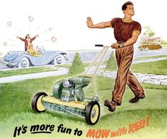 """It's """"Throwback Thursday"""" again! Check out this fantastic vintage lawnmower ad from... the 1930s? The 1940s? The 1950s?  What year do you think this lawnmower ad was first published?"""