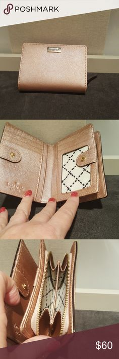 Kate Spade tri fold wallet Rose gold color New no tags never used kate spade Bags Wallets