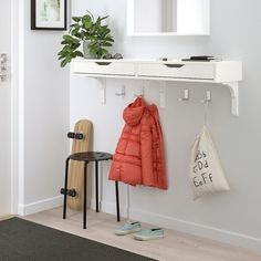 EKBY ALEX / RAMSHULT Wall shelf, white, white, 46 EKBY ALEX allows you to keep your favorite items visible on the open shelf, and hide away things you need close at hand in the drawers. Drawer stops prevent the drawers from being pulled out too far. Wall Shelving Systems, Open Shelving, Shelving Units, Wall Organization, Wall Storage, Wall Mounted Desk, Ikea Wall Desk, Drawer Shelves, Home Decor