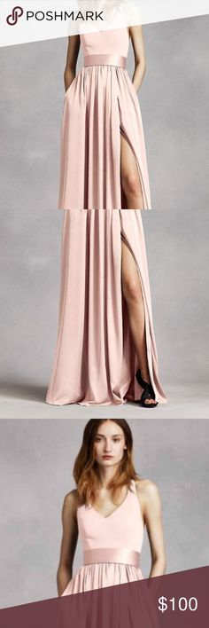 Vera Wang Blush Halter Bridesmaid Gown The most comfortable and beautiful Bridesmaid dress ever! It has POCKETS you guys! I can't tell you how much I love this dress. Worn only once at my best friends wedding. Perfect for any body type. Vera Wang Dresses Maxi