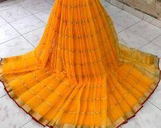 Latest manipuri Doriya cotton sarees with running blouse Raw Silk Saree, Soft Silk Sarees, Yellow Saree, Pink Saree, Tussar Silk Saree, Cotton Saree, Western Outfits Women, Designer Sarees Online Shopping, Elegant Fashion Wear