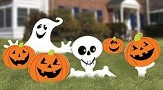 Halloween Food Ideas For Celebrations ** Amscan Family Friendly Skeleton and Ghost Corrugate Yard Stake Signs Halloween Trick or Treat Party Outdoor Decoration Plastic 20 x 16 Pack of Halloween Lawn, Halloween Yard Decorations, Halloween Trick Or Treat, Halloween Signs, Outdoor Halloween, Halloween Ghosts, Halloween Pumpkins, Halloween Crafts, Lawn Decorations