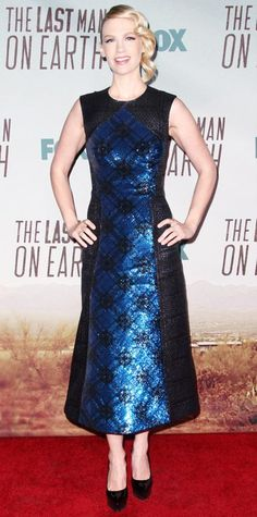 January Jones took the futuristic route for The Last Man on Earth premiere, hitting the red carpet in a cool metallic blue patterned Mary Katrantzou number that she styled with side-swept waves and black pumps.
