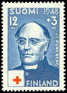 J. L. Runeberg vuonna 1948 julkaistussa muistopostimerkissä. Posti- ja telelaitos. - Runebergin ensimmäinen julkaistu runo oli Åbo Tidningar -lehdessä 1826 ilmestynyt Auringolle (Till solen). Hän kirjoitti koko tuotantonsa ruotsiksi. Runeberg valmistui filosofian kandidaatiksi 1827 ja jo samana kesänä maisteriksi vanhan akatemian viimeisessä promootiossa 10.7.1827.