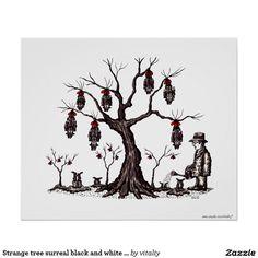 Art noir et blanc surréaliste de dessin d'arbre ét poster