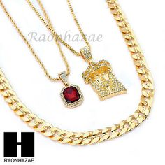 "MEN ICED OUT RUBY JESUS DIAMOND CUT 30"" CUBAN LINK BOX ROPE CHAIN NECKLACE SC046"
