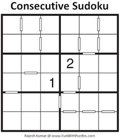 Consecutive Sudoku Puzzle (Mini Sudoku Series #113) Printable Puzzles For Kids, Sudoku Puzzles, Train Your Brain, Puzzle Board, Brain Teasers, Riddles, Improve Yourself, Mini, Mind Games