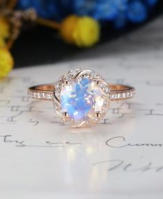 Moonstone engagement ring set rose gold vintage women diamond wedding band round cut unique Half Eternity Bridal Anniversary Gift for her Classic Engagement Rings, Round Cut Engagement Rings, Engagement Ring Settings, Engagement Sets, Wedding Rings For Women, Diamond Wedding Bands, White Gold Rings, Ring Designs, Wedding Jewelry