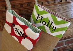 Burlap Christmas Stockings  Trendy  Chevron by InternationalHome, $28.75