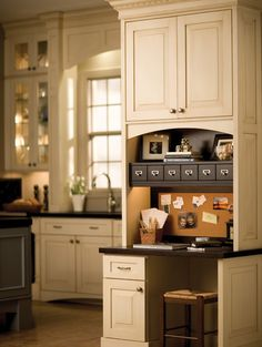 Home Office Tips: How to Create a Space That Motivates & Inspires You! A home office desk nook incorporated into a kitchen design, featuring Dura Supreme Cabinetry. Home, Home Kitchens, Kitchen Remodel Small, Kitchen Design, Kitchen Desk Areas, New Kitchen, Command Center Kitchen, Dream Kitchen, Kitchen Desks