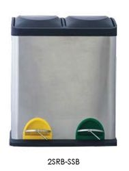 4 Gallon Stainless Steel Step On Dual Kitchen Recycle Bin