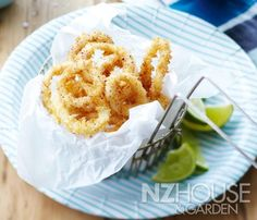 Salt and Sumac Calamari with Lime Mayonnaise Garden News, Calamari, Onion Rings, Canapes, Savoury Dishes, Fish And Seafood, Mayonnaise, Wine Recipes, Tapas