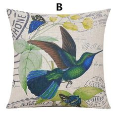 Bird throw pillow hand painted flower decorative pillows for couch decoration