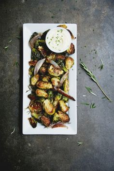 ETC INSPIRATION BLOG ART DESIGN FOOD RECIPE Rosemary Roasted Brussel Sprouts with Garlic Aioli VIA CLAIRE THOMAS KITCHY KITCHEN