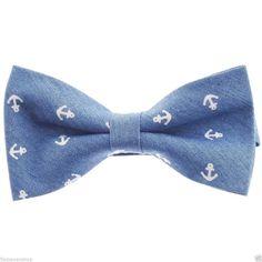 FLATSEVEN Mens Pre-Tied Anchor Design Casual Denim Bow Tie (YB002) #FLATSEVEN #BowTie