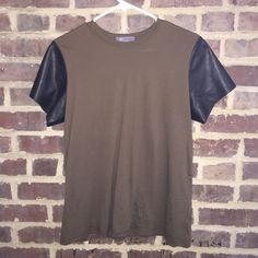 Vince t-shirt with 100% lamb leather sleeves Sleeves are real leather (100% lamb leather) // never worn before Vince Tops Tees - Short Sleeve