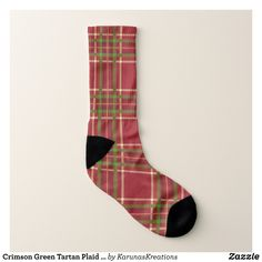 Crimson Green Tartan Plaid Pattern Socks - Fancy Customizable All-Over-Print Crew Socks By Talented Fashion And Graphic Designers - #socks #stockigns #mensfashion #apparel #shopping #bargain #sale #outfit #stylish #cool #graphicdesign #trendy #fashion #design #fashiondesign #designer #fashiondesigner #style