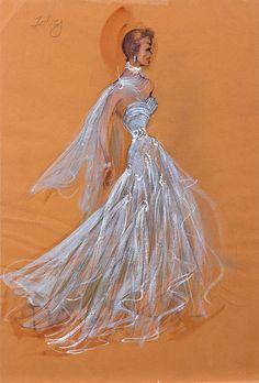 """Original Edith Head costume sketch for Jane Wyman in  """"LUCY GALLANT"""" (1956)"""