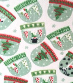 Holiday Inspirations™ Christmas Fabric Fabric-Snow Globe Fleece Foil