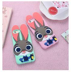 3D Cute Cartoon Rabbit Phone Cases for iPhone 7 7Plus 5s 6 6s 6Plus 6sPlus for Samsung S6 S7 edge Silicone Back Case Cover