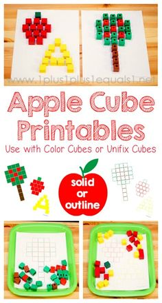 Free Apple Cube Printables ~ Use with Color Cubes or Unifix Cubes