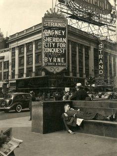 back-then:Stranded  Strand Theatre, Broadway, New York 1940  This is a great photo, and also City for Conquest is a great movie! You should all see it!