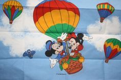 Walt Disney Pillowcase Mickey Mouse and Minnie Mouse Hot Air balloon