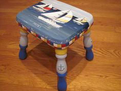 """Custom Painted Sailboat. Solid wood, 10.5"""" high, painted with acrylics, finished with polyurethane. Can be personalized. I will keep you updated with my progress and will send a picture."""