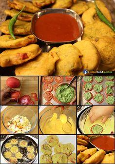 Tomato Bhajiya (Pakoda) recipe (step by step) pictures Pakora Recipes, Chaat Recipe, Indian Prawn Recipes, Appetizer Recipes, Snacks Recipes, Recipies, Appetizers, Ayurvedic Recipes, Vegetarian Snacks