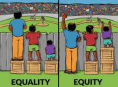 """SUMMARY: Equality/Equity cartoon CONNECTIONS: Hang on wall in classroom Diversity (race, abilities, gender, etc.) Use this to help students understand equity in a specific situation that they feel is """"unfair"""" TARGET AGE: all ages (even teachers! Equity Vs Equality, Social Equality, Satirical Illustrations, Social Change, Social Justice, Human Rights, Decir No, Life Quotes, Socialism"""