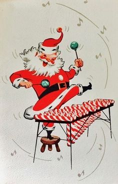 This looks like art from an old Christmas card -- and it is pretty clever. Vintage Christmas Images, Old Fashioned Christmas, Christmas Past, Retro Christmas, Vintage Holiday, Christmas Pictures, Christmas Greetings, Christmas Crafts, Vintage Images