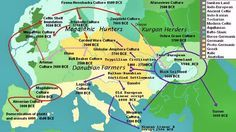 Once it was believed that cultural advances had spread from east to west due to invasion and conquest. Current theories now hold that migration and peaceful cultural diffusion was most likely the case.