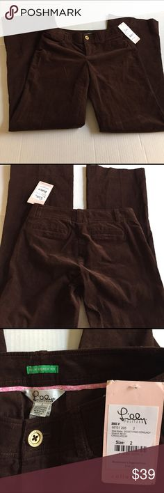 Lilly Pullitzer brown jeans/cords NWT Brown LP society pant-brown corduroy palm beach fit NWT in size 2 with 32 in inseam. Flawless and ready for your wardrobe😃 Lilly Pulitzer Jeans Straight Leg