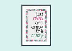 Stitch this bright and funny quote, which uses 8 vibrant DMC colours and whole stitches only. This geometric design is available as an instant download and is a perfect modern cross stitch gift for a friend who sees the funny side of life.  55 x 85 stitches 8 colours 14 count measurements: 3.9 x 6.1inch / 10 x 15.4cm 18 count measurements: 3.1 x 4.7inch / 7.8 x 12cm  All electronic file packages include: - a cover page (with measurement details, page numbers and colour preview of th...