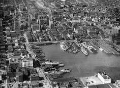 An aerial view of what is now considered the Inner Harbor shot October 20, 1948. (Robert F. Kniesche/ The Baltimore Sun)