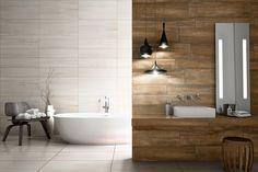 Textura soft do Marmo Bianco com a rusticidade sofisticada do Vecchia Ipê compõe o contraste equilibrado no espaço.