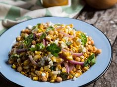 Blistered Corn and Chickpea Salad from CookingChannelTV.com omit cheese and use honey alternative if desired