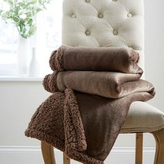 Harwoods Plush Fleece Sherpa Throw, Chocolate, 130 x 180 Cm