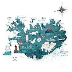 Travel infographic - Iceland map - Tonwen Jones : Travel and Trip infographic Iceland map – Tonwen Jones Infographic Description Iceland map – Tonwen Jones – Infographic Source – Travel Maps, Travel Posters, Plan Ville, Art Carte, Iceland Travel, Map Iceland, Iceland House, Volcano Iceland, Iceland Beach