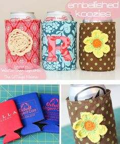 Fabric Embellished Koozies by Sweeter Than Cupcakes