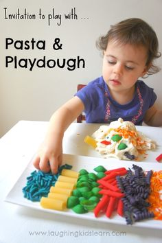 Invitation to play with pasta and playdough.  -Repinned by Totetude.com  Repinned by Apraxia Kids Learning. Come join us on Facebook at Apraxia Kids Learning Activities and Support- Parent Led Group.