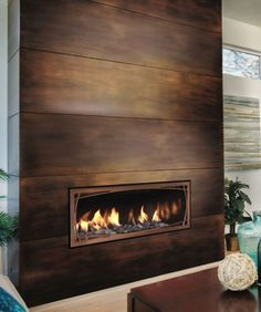 With a tv mounted Mendota Gas Fireplace Linear Direct Vent Modern Decor Fireplace Tv Wall, Linear Fireplace, Fireplace Remodel, Living Room With Fireplace, Fireplace Surrounds, Fireplace Design, Fireplace Ideas, Fireplace Decorations, Fireplace Mantels