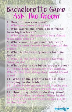 Bachelorette game: Ask the Groom (Questions)                                                                                                                                                                                 More