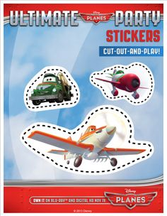 I have the biggest smile on my face right now. I was hoping to find some printable paper airplanes in the theme of Disney's Planes, and I did. Disney Crafts, Disney Fun, Disney Printables, Free Printables, Disney Planes Party, Planes Birthday, Disney Coloring Pages, Party Themes, Stickers