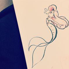 Best Disney Tattoo - The Little Mermaid. drawings mermaid Disney Tattoo – The Little Mermaid… Disney Tattoos, Disney Tattoo Design, Disney Kunst, Disney Art, Kawaii Disney, Disney Ideas, Disney Pixar, Cute Drawings, Drawing Sketches