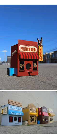 These two San Francisco-based creatives teamed up to create a series of beautiful and clever birdhouses. Luke Bartels woodworking skills combined with. Juxtapoz Magazine - Birdhouses by Jeff Canham and Luke Bartels Laura Moyer Art Th Cool Bird Houses, Bird Houses Painted, Fairy Houses, Painted Birdhouses, Rustic Birdhouses, Wood Houses, Bird House Feeder, Bird Feeders, Deco Nature
